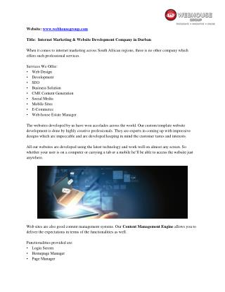 Web House Group - Internet Marketing Agency in Durban