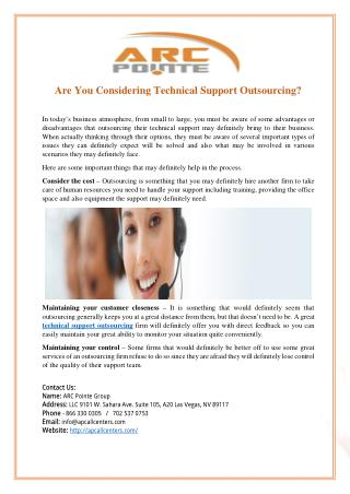 Are You Considering Technical Support Outsourcing?