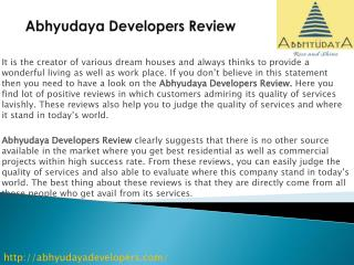Abhyudaya Developers Review