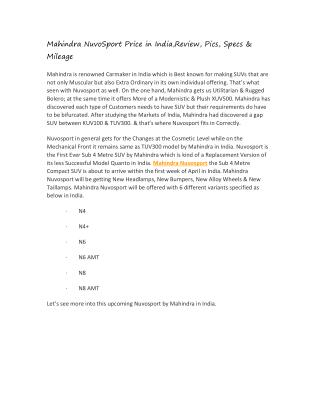 Mahindra NuvoSport Price in India,Review, Pics, Specs & Mileage