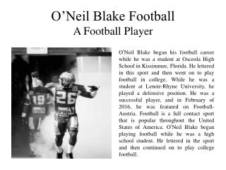 O'Neil Blake Football A Football Player