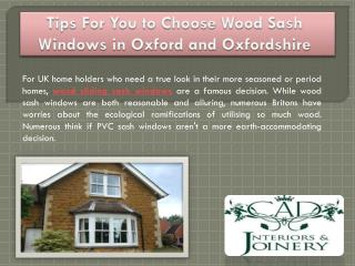Tips For You to Choose Wood Sash Windows in Oxford and Oxfordshire