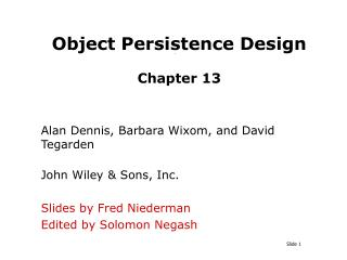 Object Persistence Design   Chapter 13