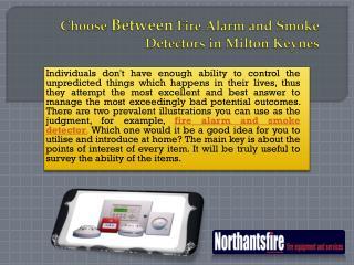 Choose Between Fire Alarm and Smoke Detectors in Milton Keynes