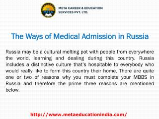 The Ways of Medical Admission in Russia