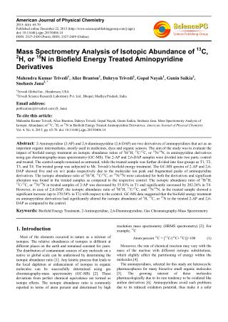 Mass Spectrometry Analysis of Isotopic Abundance of 13 C, 2 H, or 15 N in Biofield Energy Treated Aminopyridine Derivati