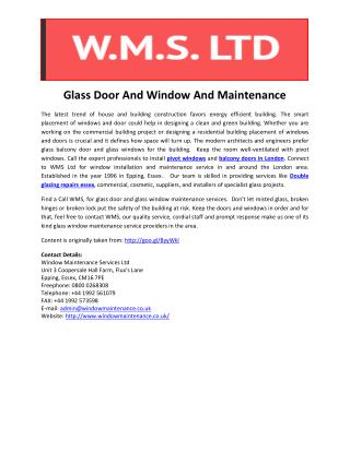 Glass Door And Window And Maintenance
