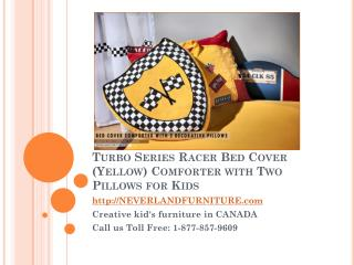 Turbo Series Racer Bed Cover Yellow Comforter With Two Pillows for Kids
