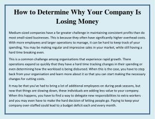 How to Determine Why Your Company is Losing Money