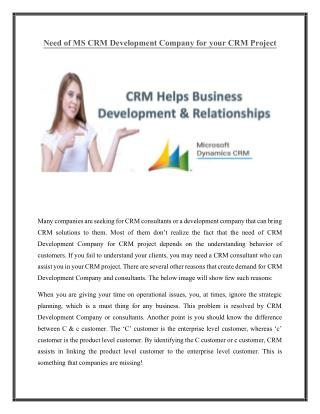Need of MS CRM Development Company for your CRM Project