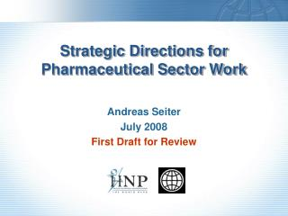 Strategic Directions for Pharmaceutical Sector Work