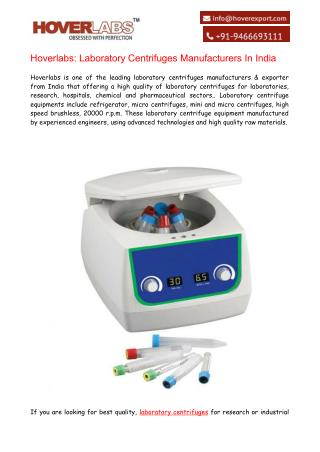 Laboratory Centrifuges Manufacturers & Exporters India