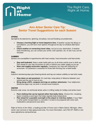 Senior Travel Tips | Home Care Services | Ann Arbor, MI
