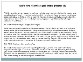 Tips to Find Healthcare jobs that is great for you