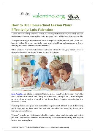 Using Homeschool Lesson Plans Effectively by Luis Valentino