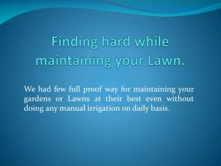 Lawn Sprinkler System| Residential Sprinkler System