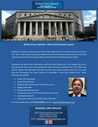 Richard Cary Spivack - New York Probate Lawyer