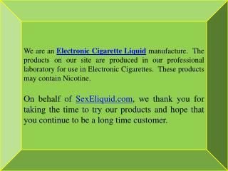 Electronic Cigarette Liquid Manufacture