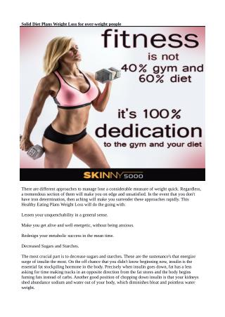 Solid Diet Plans Weight Loss for over-weight people