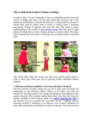 Tips to Help Kids Explore Fashion Clothing