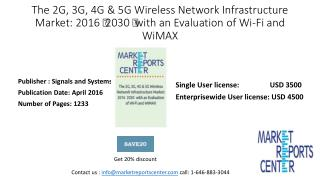 The 2G, 3G, 4G & 5G Wireless Network Infrastructure Market: 2016- 2030 with an Evaluation of Wi-Fi and WiMAX