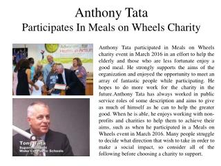 Anthony Tata Participates In Meals on Wheels Charity