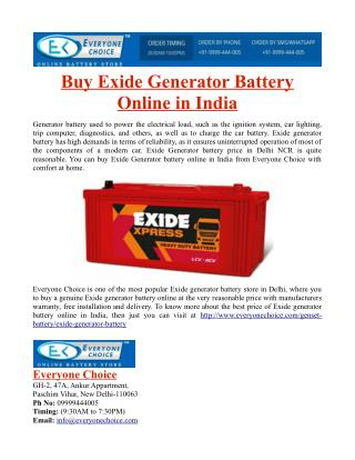 Buy Exide Generator Battery Online in India