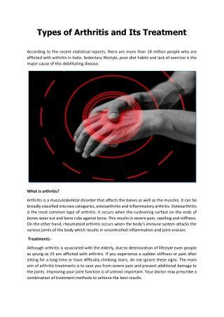 Types of Arthritis and Its Treatment - Apollo Hospitals Delhi