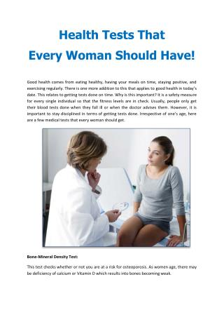 Health Tests That Every Woman Should Have!