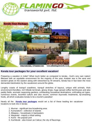 Kerala tour packages for your excellent vacation