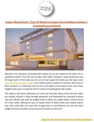 Jaipur Hotel Deals | Top 10 Hotels in Jaipur Near Railway Station | Zonebythepark Hotels