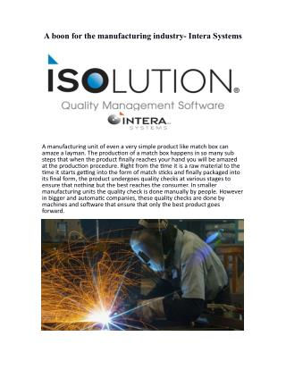 A boon for the manufacturing industry- Intera Systems