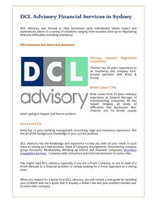 DCL Advisory Financial Services in Sydney