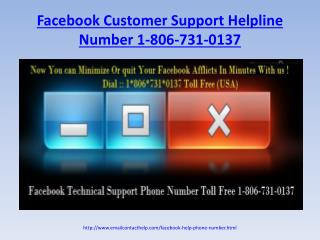 Need help for Facebook issues!Dial Facebook Helpline Number 1-806-731-0137