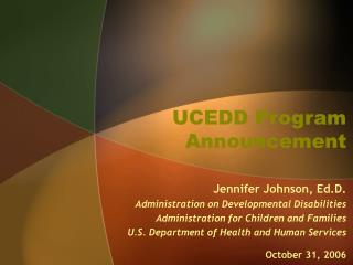 UCEDD Program Announcement