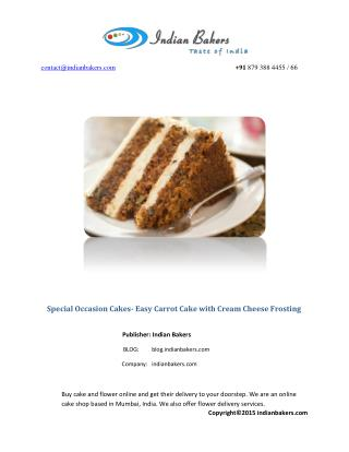 Special Occasion Cakes and Party Cakes-Easy Carrot Cake Recipe Perfect