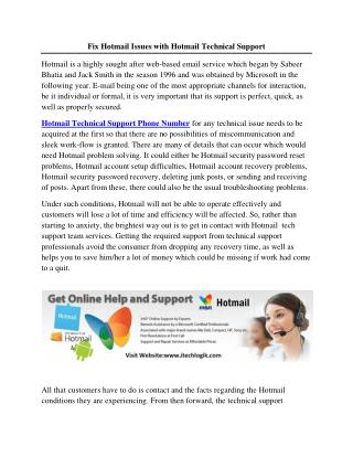 Fix Hotmail Issues with Hotmail Technical Support