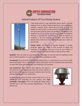 Salient Features Of Gas Flaring System