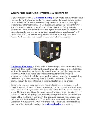 Geothermal Heat Pump, Geothermal cooling