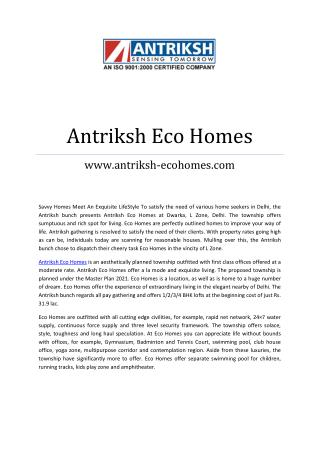 Antriksh Eco Homes @ 8373913412