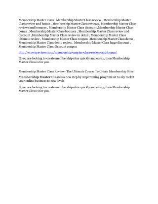 Membership Master Class review