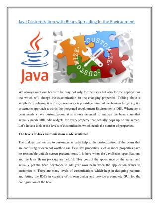 Java Customization With Beans Spreading in the Environment