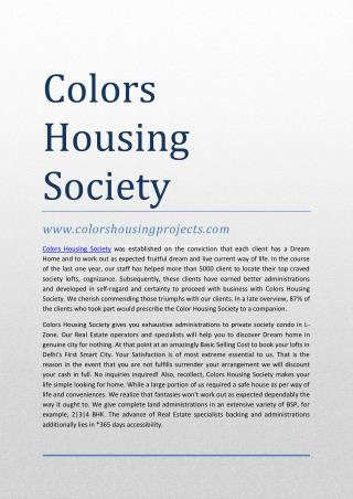 Colors Housing Society @ 9711628721