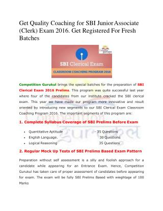 Get Quality Coaching for SBI Junior Associate (Clerk) Exam 2016