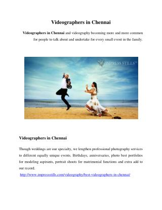 Videographers in Chennai