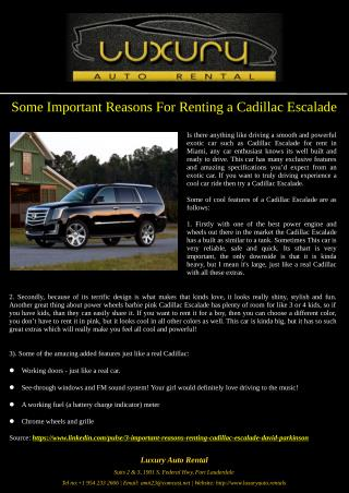 Some Important Reasons For Renting a Cadillac Escalade