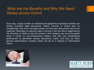 What Are the Benefits and Why We Need Notary across Oxford