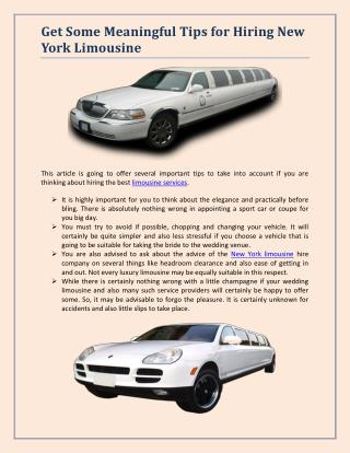 Get Some Meaningful Tips for Hiring New York Limousine