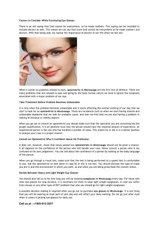 Factors to Consider While Purchasing Eye Glasses