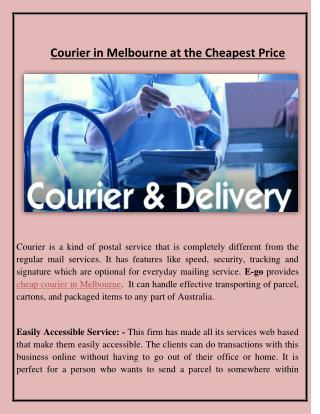 Courier in Melbourne at the Cheapest Price